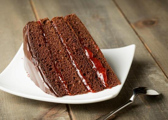 chocolate layer cake with chocolate ganache